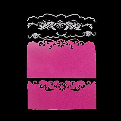 Qinpin Stanzschablonen mit Blumenmotiv, Metall, für Scrapbooking, Album, Papierkarte, Karbonstahl, D, Einheitsgröße