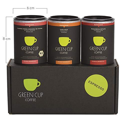 Green Cup Coffee Espresso Probierset - sortenreine, fair gehandelte Arabica Espressobohnen in Bio-Qualität - Kaffee Bohnen aus Indien, Brasilien & Panama - 3x 45g ganze Bohne