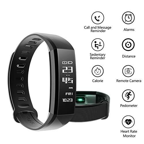 Mpow Bluetooth 4,0 Fitness Armbänder mit Pulsmesser,Smart Fitness Tracker mit Herzfrequenzmesser, Schrittzähler, Schlaf-Monitor, Aktivitätstracker, Remote Shoot, Anrufen / SMS, finden Telefon für Android iOS Smartphone wie iPhone 7/7 Plus/6S/6/6 Plus, Huawei P9. - 2