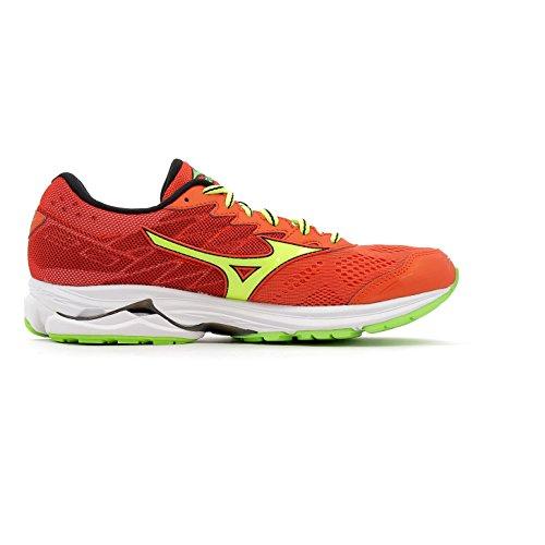 Mizuno Wave Rider 20, Zapatos De Gimnasia Para Hombre Granadina / Solar Amarillo / Verde