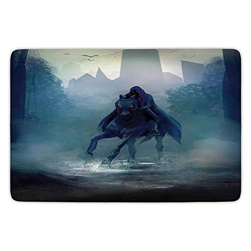 Velvet Red Riding Hood (Bathroom Bath Rug Kitchen Floor Mat Carpet,Fantasy World,Fantasy Horseman with Hood Riding in Dark Mystic Foggy Forest Road Fairytale Theme,Navy,Flannel Microfiber Non-Slip Soft Absorbent)