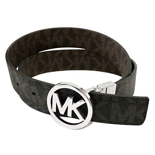 Michael Kors Gürtel Damen Wendegürtel *Reversible* schwarz oder braun 3 cm breit Runde Silberne Schnalle, MK Logo eingeprägt (S)