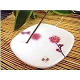 Yume no Yume INC38542 Fleur Prunier Porte-Encens Blanc 8 x 8 x 1 cm