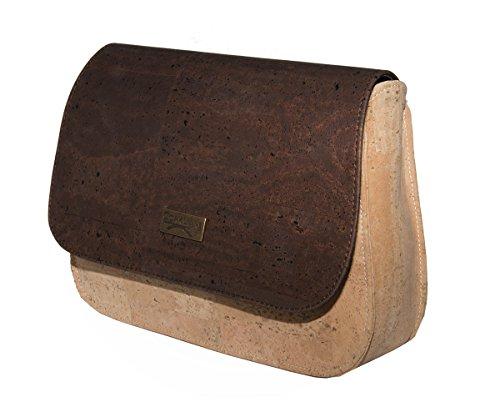 Vegane Handtasche - Umhängetasche Kuriertasche Kork - Schultertasche Korktasche aus echtem Korkleder. Kork als Lederersatz im Messenger Format natur_braun