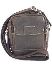 e27c0c57e813d HGL Damen Tasche Crossovertasche Echt-Leder braun 9361 Handyfach  Reißverschluss