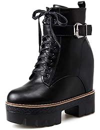 48d6a1b4d3ee3 SHANGWU Damas de Mujer Botas de Invierno de Tobillo tacón Alto Plataforma de  cuña Biker Calf Botines de Talla Zapatos de tacón Oculto…