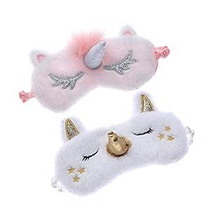 Tumao 2 Stücke Nette Plüsch Einhorn Schlafmaske Unicorn Horn Weichem Augenbinde Augenabdeckung 3D Cartoon Reisen Augenklappe für Frauen Mädchen.