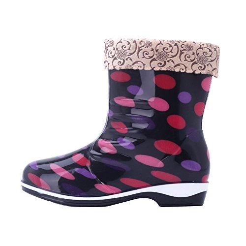 Gaatpot Rain Boots Rubber Shorty Warm Lined Wellington Boots for Womens