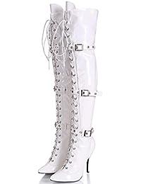 Mujeres Club nocturno Botas femeninas Damas Elasticidad Botas de tacón alto 12cm Bien con Zippered botas de la...