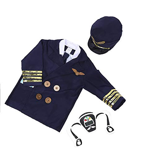 TopTie Pilot Kostüm Flugbegleiter Eisenbahn Engineer Kostüm für Kinder Rollenspiel Set Pilot-S (Pilot Rollenspiel Kostüm Set)