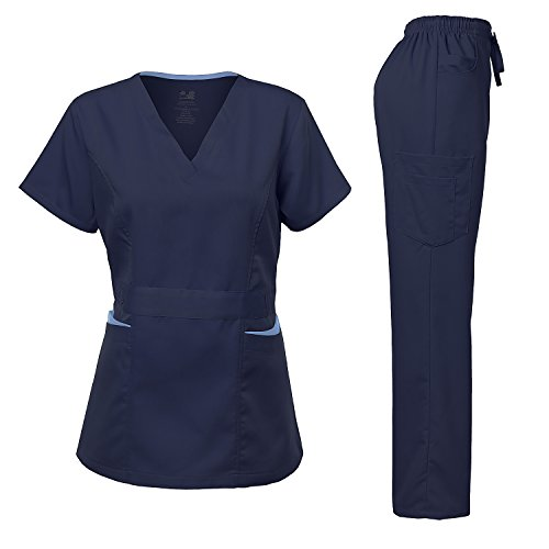 Dagacci Medical Uniform Damen Scrubs Set Stretch Ultra Soft Contrast Pocket - Blau - X-Klein - Kleine Flare Scrubs Hose