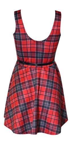 (womens sleeveless tartan belted skater dress)(mtc) femmes tartan ceinturé Robe patineuse (red) rouge