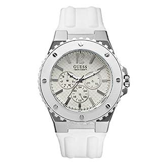 Guess W10603G1 – Reloj analógico de Cuarzo para Hombre con Correa de Caucho, Color Blanco