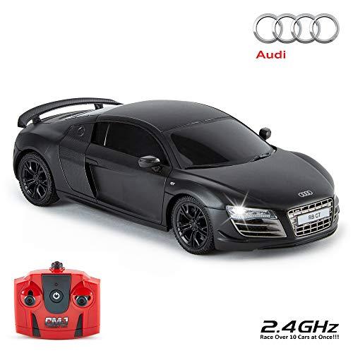 Audi R8 Gt, Offiziell Lizenziert Fernbedienung Auto für Kinder mit Funktionierendem Lichter, Ferngesteuert auf Straße RC 1:24 Modell, 2,4 GHZ (Matt Schwarz) Tolles Spielzeug für Jungen und Mädchen