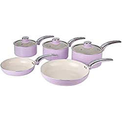 Swan Série de 5 casseroles rétro, Aluminium, Rose, 31.50 x 48.00 x 15.00 cm