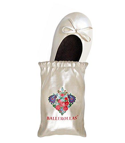BALLEROLLAS Faltbare Ballerinas in weiß - Afterparty Schuhe aus Kunstleder, Hochzeitsschuhe, Brautschuhe, Hochzeitsgeschenk - Wechselschuhe weiß Gr. 37/38