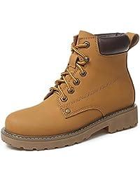 HSXZ - Zapatos de mujer con muelle de vaca, botas de combate cómodas, zapatos de senderismo, tacón plano, puntera...