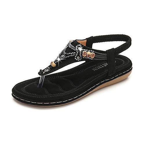 Frauen Flache Sandalen, Sommer Große Größe Lässig Bequeme Walk Arch Support Strand Schuhe, Böhmischen Stil Strass Perlen Hausschuhe,Black,42