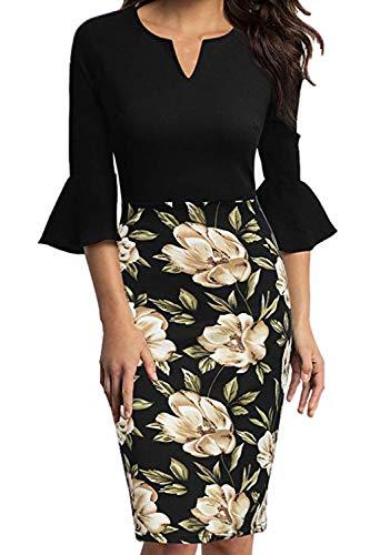 ab1a35d58b915c MisShow Damen Elegantes Stretch Etui Kleid Midilang Businesskleider  Etuikleid Partykleider Pencil Dress Blumen Gr.2XL