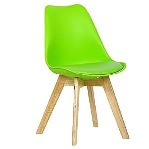 WOLTU® BH29gn-1 Sedie per Sala da Pranzo Sedia Cucina Sgabello con Schienale Seduta Ecopelle e Plastica Gambe in Legno di Faggio Moderno 1 Pezzo Verde