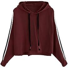 Styledress Sweatshirt Damen,Damen Langarmshirt Gestreiftes Hoodie Sweatshirt  Sweatjacke Langarm Pullover Hosenanzug T-Shirt 73db046982