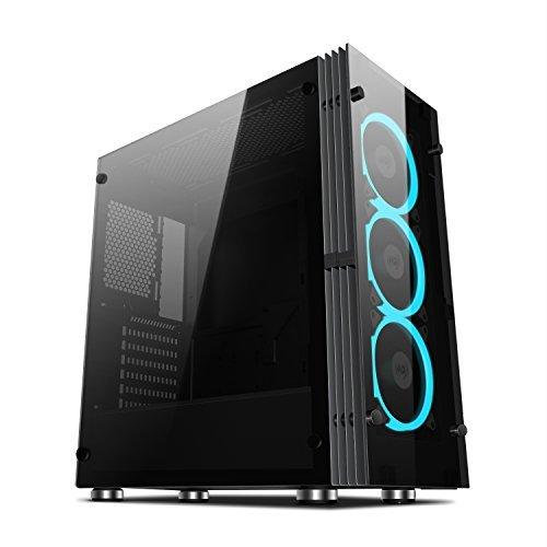 Aigo ATX Mid Tower Dual gehärtetem Glas Platten Gaming Computer PC Fall Schwarz Desktop Shell USB 3.0Port Atlantis -