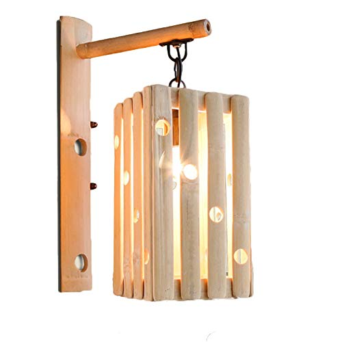 LPZF Wandleuchte E27 Bambus Schattierungen Wandleuchte, Vintage Handgefertigt Design Dekor Wandlampe Korridor Hotel Bar Café Beleuchtung-1-Lichter 24x38cm