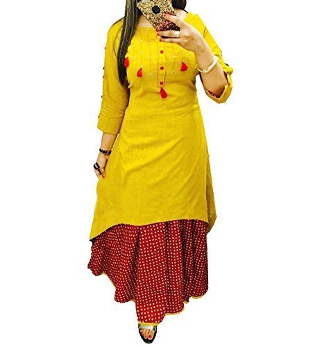 Shreeji Ethnic Cotton Soft Princess Cut Stitched Long Rayon Women's Designer Kurti