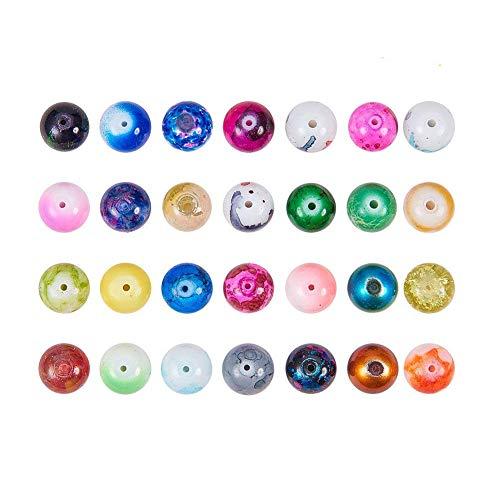 Runde Spray Lackiertes Glas Europäische Perlen Große Lochperlen Gemischte Farbe ()