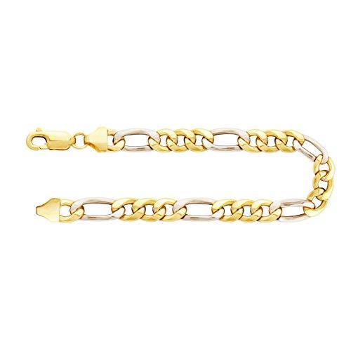 Armband Figarokette hohl Bicolor Gelbgold/Weißgold 585/14 K, Länge 19 cm, Breite 5.7 mm, Gewicht ca. 5.1 g, NEU - Gold Armband 14k Herren Gelb