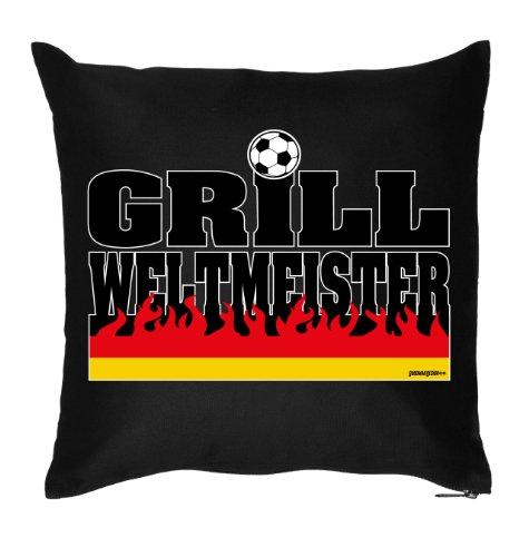 bedrucktes Fussball Fun Fan Sofa Kissen: Grill - Geschenk Fußball Dekokissen Couchkissen Sofakissen Geburtstag Ostern Couch