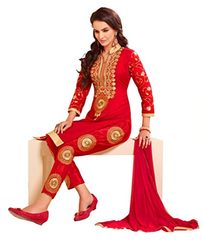 DnVeens Women Chanderi Embroidery Unstiched Salwar Kameez Suit Dress Material