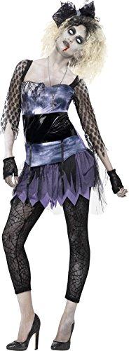 Smiffys, Damen Zombie 80er Wild Child Kostüm, Kleid, Oberteil, Leggings, Schleifen-Stirnband und Handschuhe, Größe: S, 44367