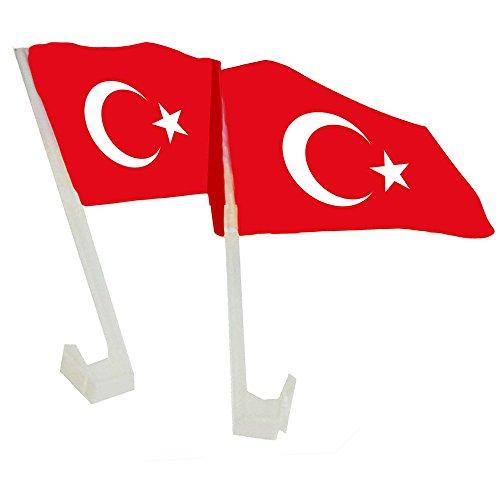 Piersando Autofahne Set 2 Stück Auto Fahne Fussball EM & WM Länderflagge Fanartikel Land Flagge Autoset Türkei