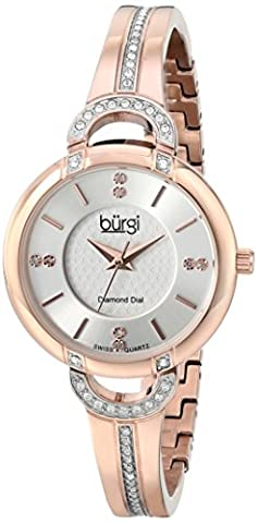 Burgi - Femme - BUR105RG - Quartz Affichage - Analogique - Swiss - Cadran Argent - Or Rose - Bracelet Acier Inoxydable