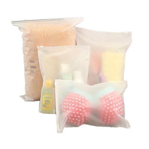 Ponny - Juego de 5 bolsas de plástico con cierre hermético con todos los tamaños para ropa, embalaje, viajes, transparentes, pequeños recipientes de papel, plástico, Set of 5