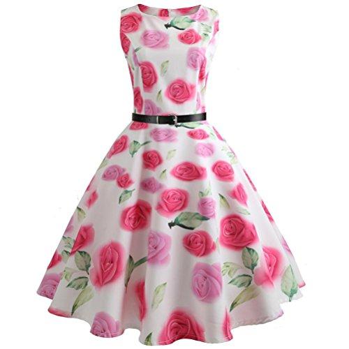 VEMOW Heißer Verkauf Elegante Damen Mädchen Frauen Vintage Bodycon Sleeveless Beiläufige Abendgesellschaft Tanz Prom Swing Plissee Retro Kleider(Hot Pink, EU-42/CN-XXL) (Hot Pink Dresses Cocktail)