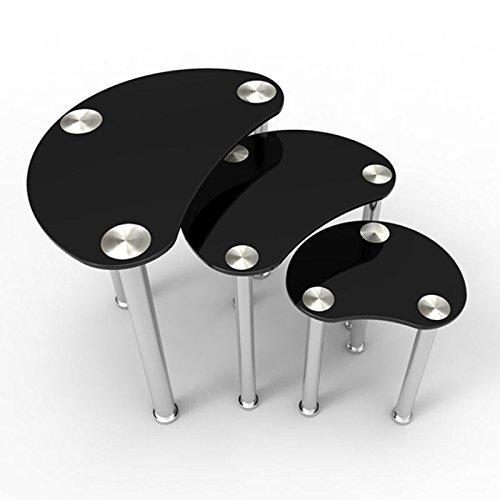 Uenjoy Lot de 3 tables gigognes plateau en verre noir avec pieds chromés