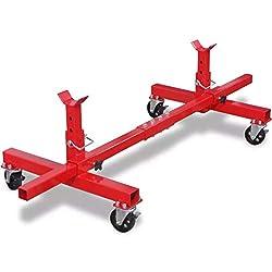 Axle Rollstand Unterstellbock Stützbock Höhenverstellbar Stahl Rahmen Belastbar bis 906,5 kg, Größe 150 x 60 x 34 cm (L x B x H)