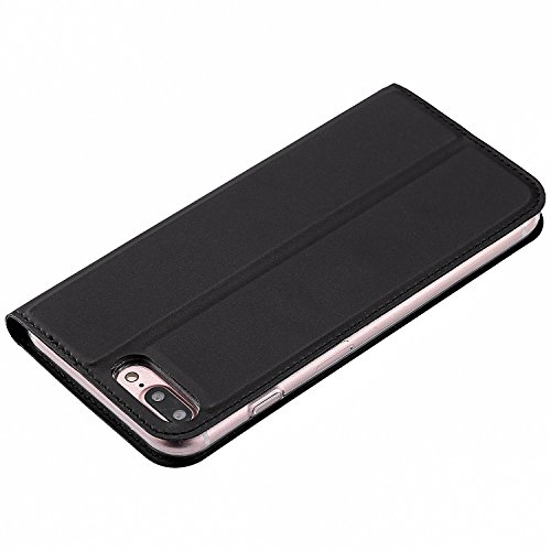 JIALUN-Telefon Fall Solid Color Uni Texture PU Ledertasche Magnetische Verschluss Stil Stand Case Cover mit Kartensteckplatz für iPhone 7 Plus ( Color : Purple ) Black