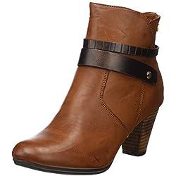 Xti Botin Sra. C. 46198 - Botas cortas con tacón para mujer, color Marrón (Camel), talla 38 EU