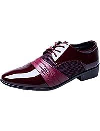 Ruanyi Leder Oxford Schuhe Männer, Modern Echtes Leder Schuhe Lace-up Atmungsaktive Business Low Top Gefüttert Oxfords Schwarz Blau Braun Wein Für Männer (Farbe : Brown, Size : 38 EU)