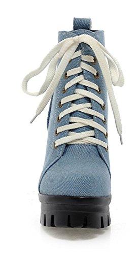 YE Frauen Runde Zehe Blockabsatz High Heel Plateau Schnüren Denim Stiefeletten Herbst Winter Ankle Boots Schuhe Hellblau