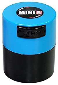 Minivac TV1-SLB - 10g to 30 gram Vacuum Sealed Container Lt. Blue Cap & Black Body