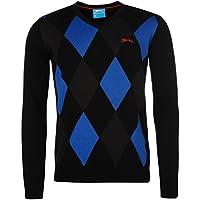 Slazenger Mens Argyle V Neck Golf Jumper Sweater Pullover Long Sleeve Cotton