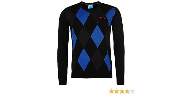 the best attitude 81ddc fe602 Slazenger Mens Argyle V Neck Golf Jumper Sweater Pullover Long Sleeve  Cotton Black Royal M  Amazon.co.uk  Clothing