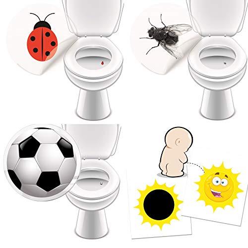 16 Urinal Aufkleber für mehr Hygiene Fliege Marienkäfer Fussball + Sonne