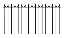 Warwick Spear Top Fence Panel 1830mm GAP x 946mm High galvanised wrought iron steel metal railing fencing WAF1