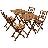 SAM® Sparset: Gartengruppe 1 Blossom, 6tlg., aus Akazienholz, bestehend aus 2 x Tisch + 4 x Klappstuhl