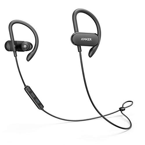 Anker SoundBuds Curve Bluetooth Kopfhörer, Bluetooth 4.1 Sport Kopfhörer mit Memory Foam Ohrstücke/ Wasserschutzklasse IPX5/ 14-Stunden-Spielzeit/ CVC Lärmreduzierung/ Mikrofon/ Etui, Lauf-Trainings-Headset für iPhone, iPad, Samsung, Nexus, HTC und mehr(Schwarz)